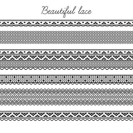 Beautiful lace seamless segments for scrapbooking, card decoration  Illustration