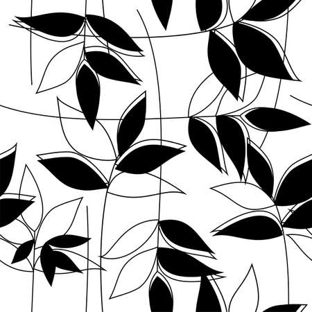 Floral black&white seamless pattern
