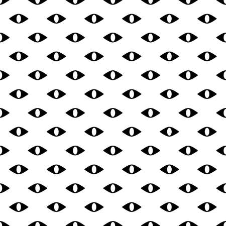 evil eyes: Black and white seamless pattern with evil eyes Illustration