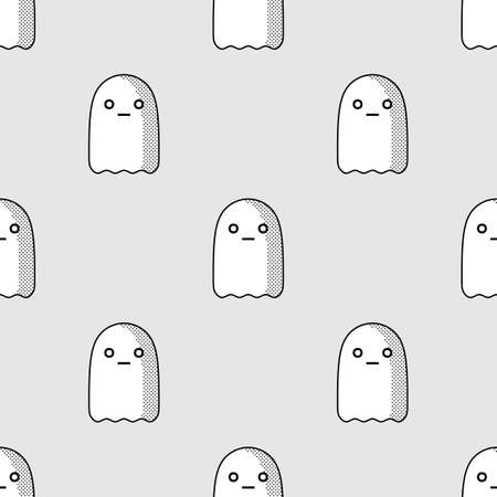 cute ghost: Halloween seamless pattern with cute ghost character in comic style