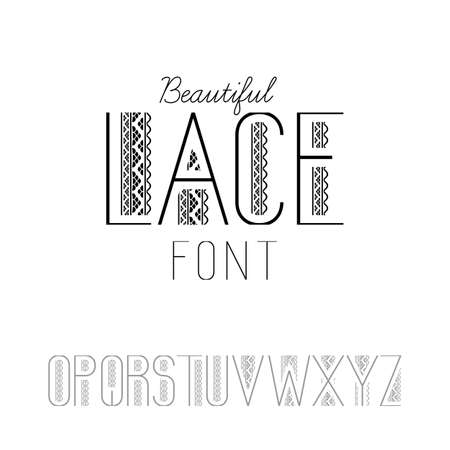 oz: Beautiful lace font set O-Z Illustration