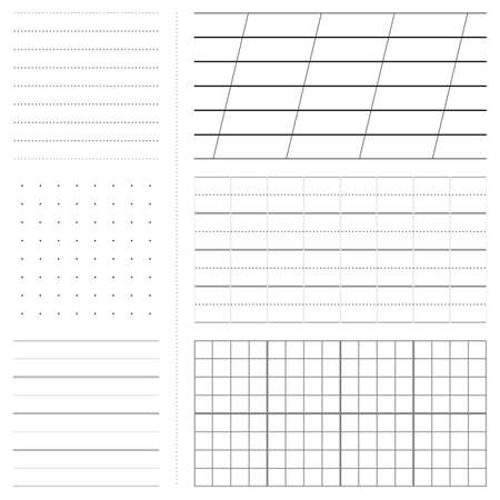 sectioned: Set of various paper sheet patterns (squared, lined etc)
