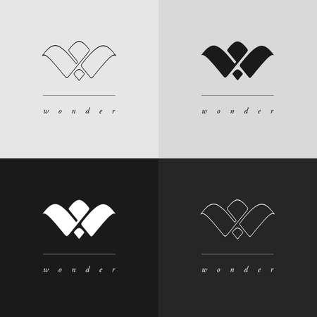 2 つのスタイルで W モノグラム ・ ロゴ デザイン