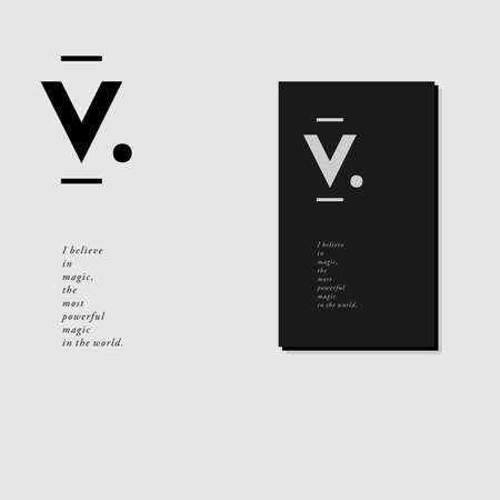 background stationary: Letterhead and business card design with V monogram in minimal style