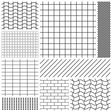 黒と白のグリッド パターンのセット  イラスト・ベクター素材
