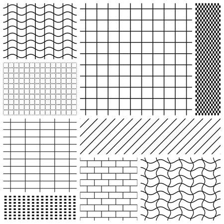 Set of grid patterns in black and white Illustration