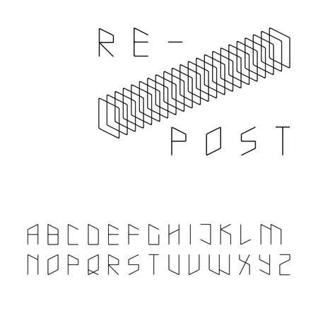 uppercase: Modern zip code style sans serif font in uppercase Illustration