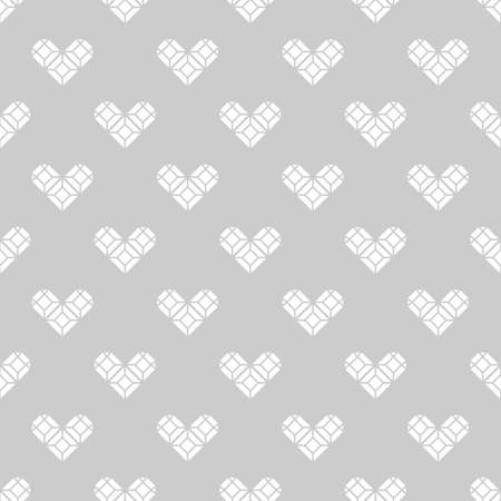 faceting: St. Valentines Day black and white background  gift wrapping. Heart-shaped diamonds seamless pattern (vector version)