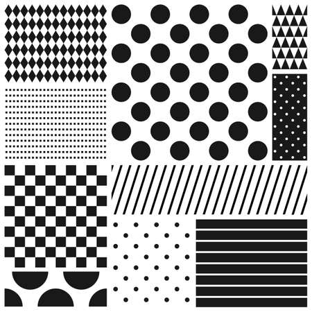 Black and white geometric seamless patterns set