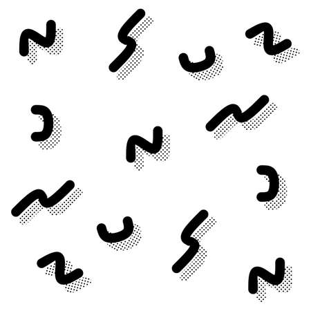 nineties: Black and white abstract seamless squiggle pattern in 90s style