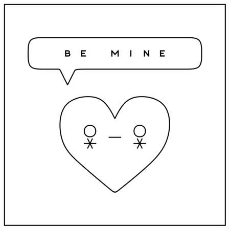 be mine: Be mine Valentines Day greeting card in minimalistic style Illustration