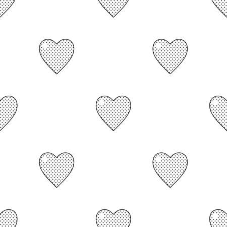 90s: Valentines day black and white seamless pattern with hearts in 90s style
