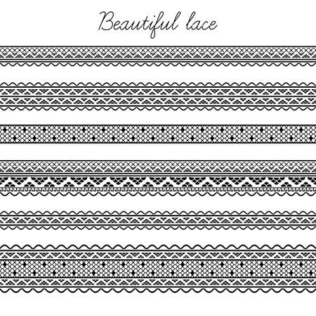 border line: Beautiful lace seamless segments for scrapbooking, card decoration etc Illustration