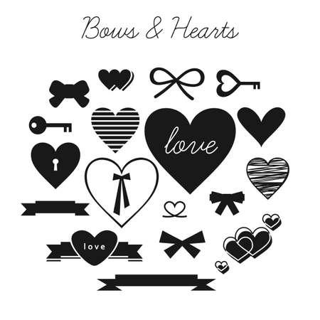 dessin noir et blanc: Set d'arcs et de coeurs
