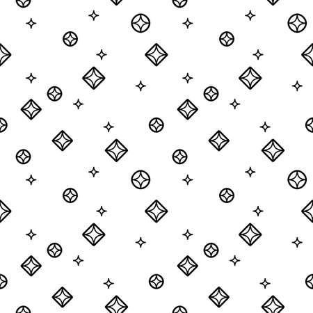 Diamonds black and white seamless pattern in linear style Illustration