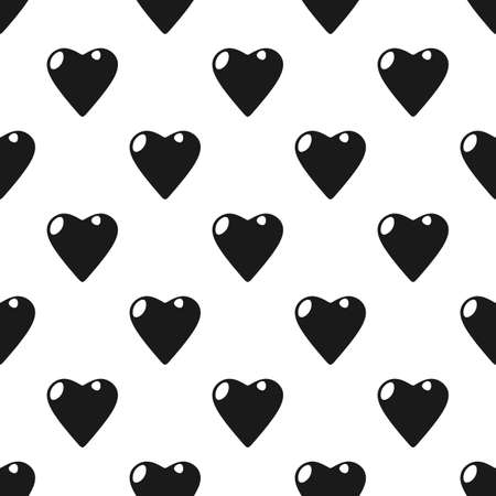 gift wrapping: St. Valentines Day black and white background  gift wrapping. Hearts seamless pattern Illustration