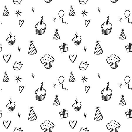Hand drawn birthday seamless pattern with cupcakes, balloons, gift boxes etc in black and white Illustration