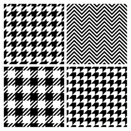 plaid patterns: Set of four fashion patterns. Houndstooth, chevron, plaid patterns
