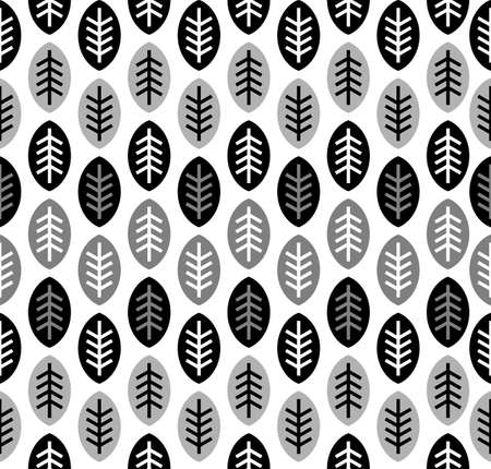 Leaves black and white seamless pattern