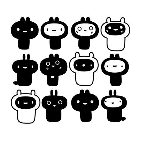 Set of cute creatures in black and white