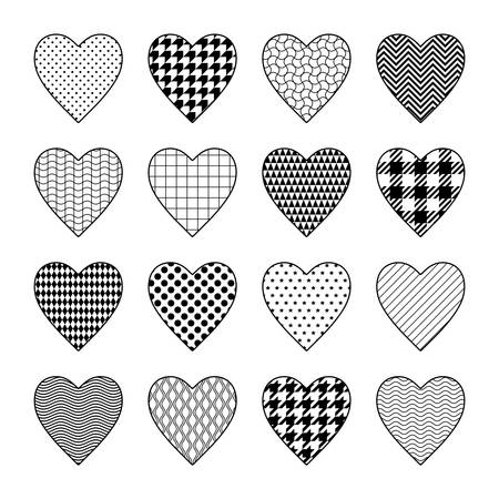 Set of black and white heart cliparts with various textures Illustration