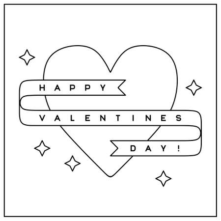 Valentines Day greeting card in clean minimalistic style Illustration