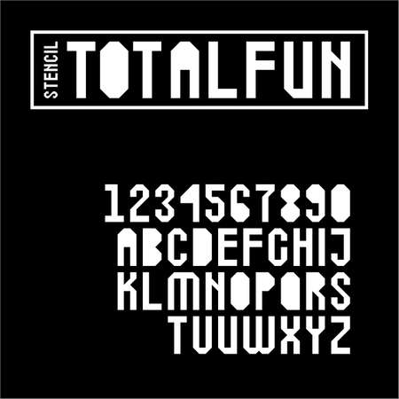 Geometric stencil font set with letters in uppercase and digits