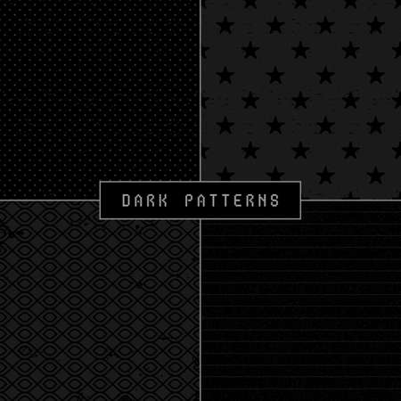 Set of four dark abstract seamless patterns