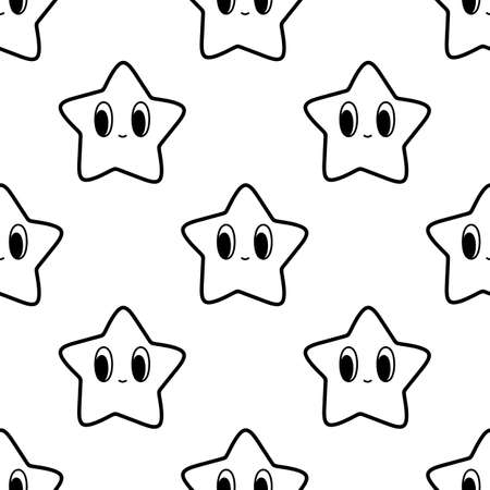 Black and white seamless pattern with star character in 90s style