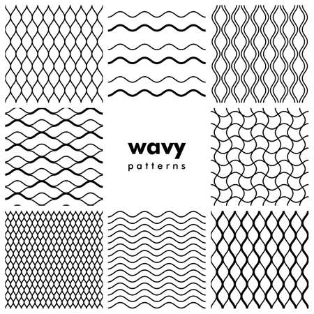 Set of wavy black and white seamless patterns Illustration