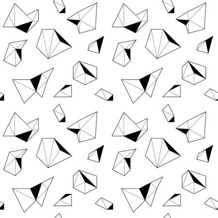 Black and white seamless pattern with polygonal shapes in linear style