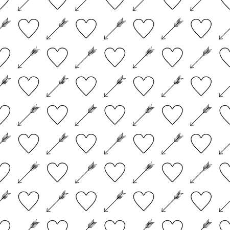 St. Valentines Day black and white background. Hearts and arrows seamless pattern