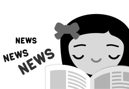 current affairs: Girl reading newspaper grayscale illustration