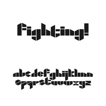 Gaming style stencil font in lowercase on white background