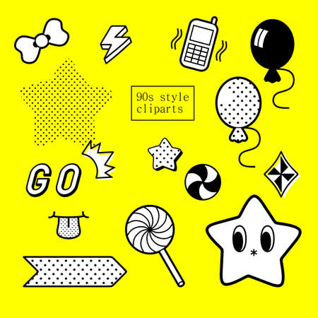 90s: 90s design inspired decorative clipart set in black and white
