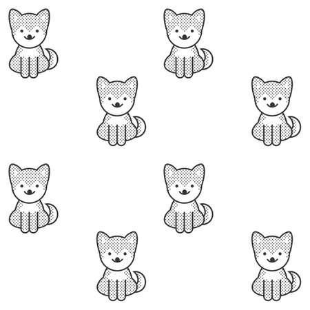 かわいい柴柴犬子犬と黒と白のシームレス パターン  イラスト・ベクター素材