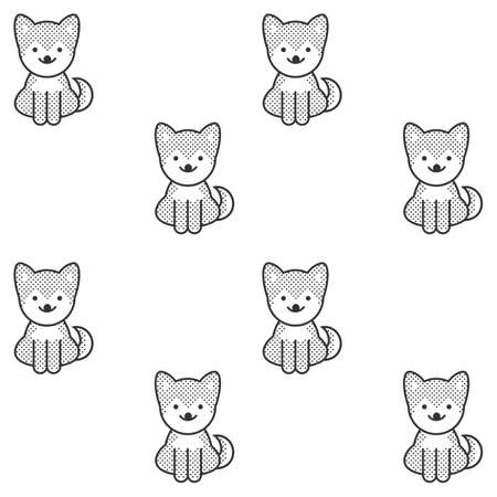 spitz: Black and white seamless pattern with a cute shiba inu puppy