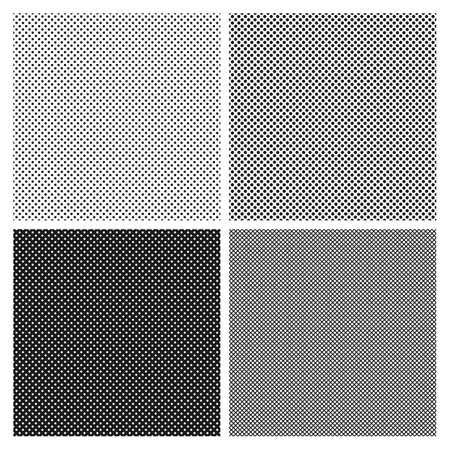 Set of halftone seamless patterns in black and white. Halftone dots imitation for texture filling
