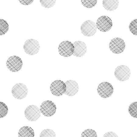 Black and white seamless pattern with overlapping textured dots Illustration