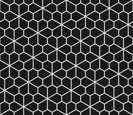 tessellation structure: Geometric seamless pattern with pentagons in black and white. Floret pentagonal tiling Illustration