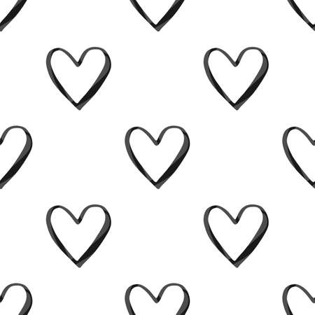 Valentines Day seamless pattern with black watercolor heart outlines on white background