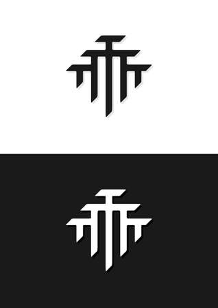 T monogram design. Conceptual for unity, teamwork, society, partnership, community, family etc Illustration