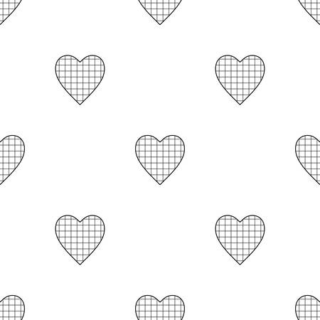 Valentines Day seamless pattern with checkered hearts on white background Illustration