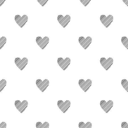 Valentines Day seamless pattern with hatched hearts on white background