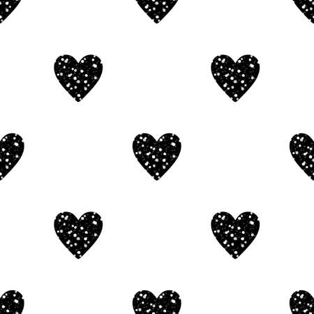 Valentines Day seamless pattern with small black glitter hearts on white background