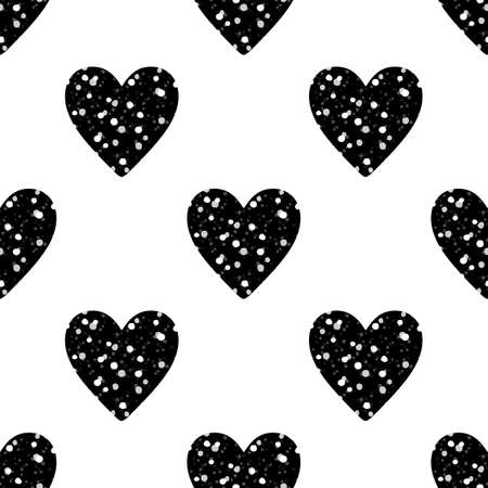 Valentines Day seamless pattern with black glitter hearts on white background