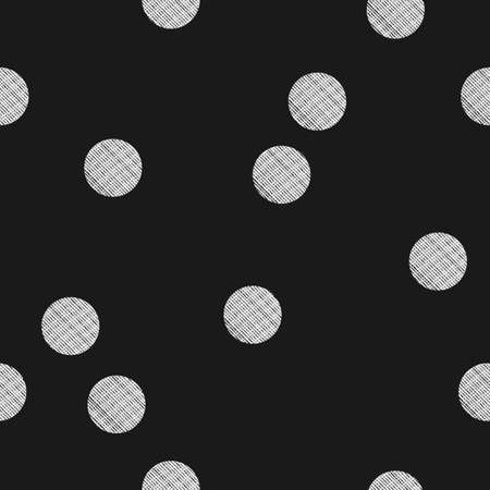 Black and white seamless pattern with textured dots. Stylized bokeh seamless pattern