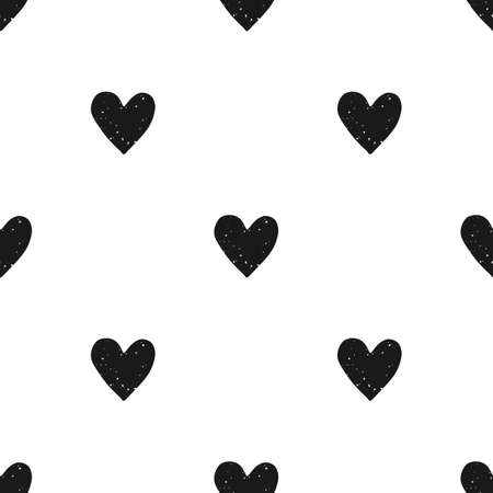 Valentines Day block print seamless pattern with grunge textured black hearts on white background Illustration