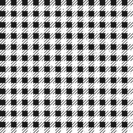 Black and white plaid seamless pattern with removable grainy texture