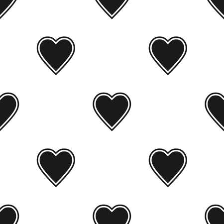 Valentines Day seamless pattern with black hearts on white background